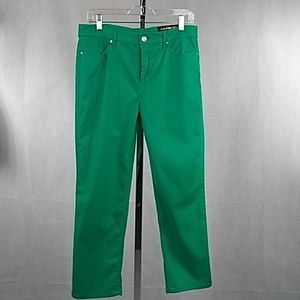Chico's Crop Pants Size 0.5 4/6 Green slim fit NWT